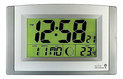 Acctim 74057SL Stratus Radio Controlled LCD Wall Clock, Silver