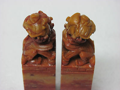 Pair of Old Chinese Soapstone Carved Lion Seal Stamp