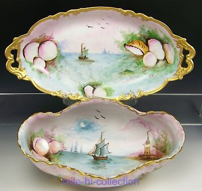 "Huge Limoges Hand Painted Sea Life Footed Serving Bowl & 16"" Platter Tray Signed"