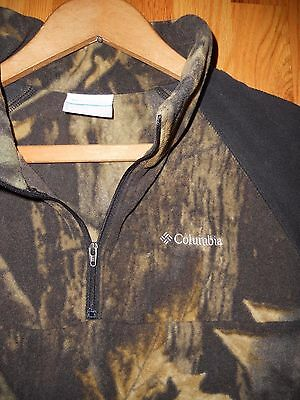 Columbia Boys Size XL Camouflage fleece 1/4 1/2 zip Long Sleeve shirt jacket