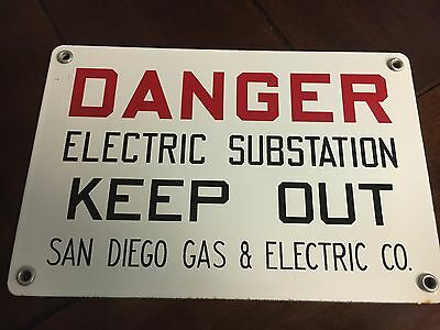 Vintage SDG&E Porcelain Sign Circa About 1960 Danger Electric Substation Keepout