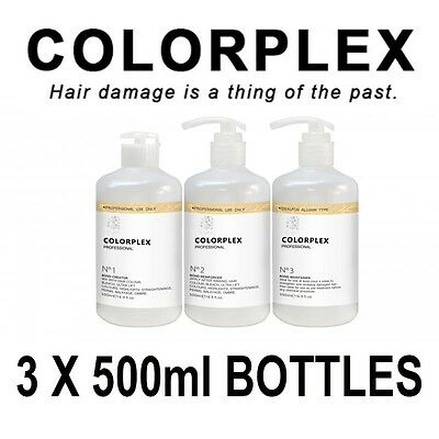 Colorplex©Professional Hair treatment Kit(acts like Olaplex) 3 x 500ml nos.1,2,3