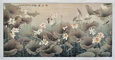 "HUGE LOTUS POND 62""x36""  SILK BROCADE TRADITIONAL CHINESE WATERCOLOR"