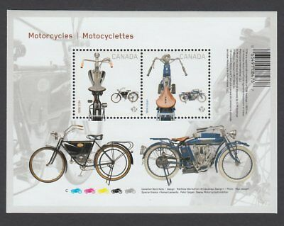 xca. MOTORCYCLES 1914 INDIAN & 1908 CCM S/S pos.7 fr UnCut sheet CANA2013 #2646i
