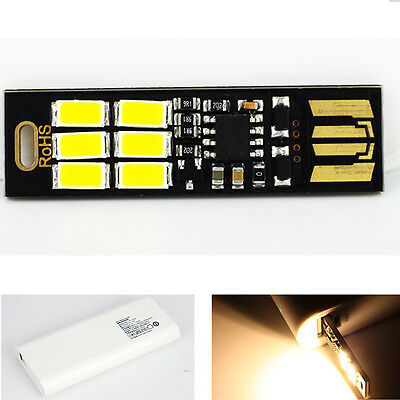 Pocket USB Power Card Lamp Bulb 6 LED Mini LED Night Light With Switch Portable