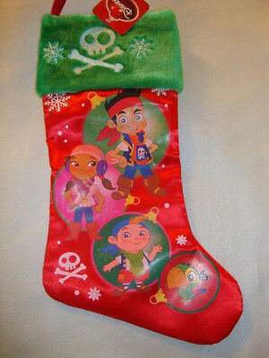 "Disney ""jake & The Neverland Pirates""  Satin  Christmas Stocking Nwts"