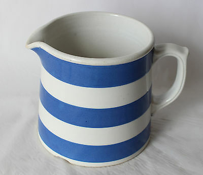 Vintage FOWLER WARE Marrickville BLUE & WHITE Striped JUG Lg