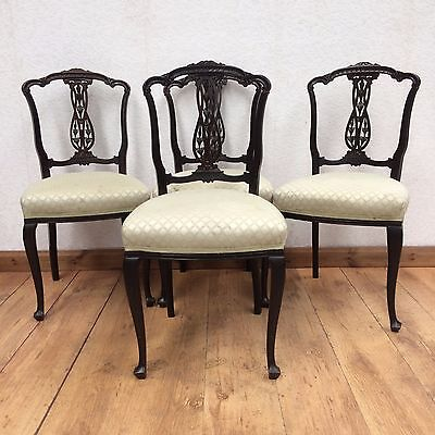 4 Vintage Edwardian Mahogany Dining Chairs