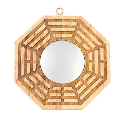 "4"" Feng Shui Peach Wood Bagua Convex Mirrors Chinese Oriental Safe Protection"