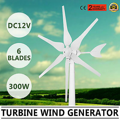 Wind Turbine Generator 300W Dc12V Move Mutely Electricity 6 Blades