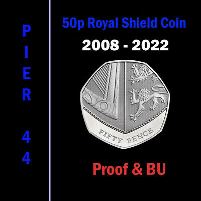 Royal Shield 50p Fifty Pence Coins 2008-2019 PROOF & BU/BUNC ONLY - Coin Hunt