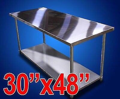 "New Stainless Steel Prep Work Table - 30""x48"" NSF Commercial Kitchen Restaurant"
