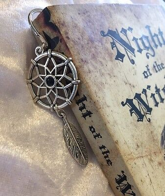 💕 Dreamcatcher Bookmark Black Silver Plated Bookworm Gift 🎁