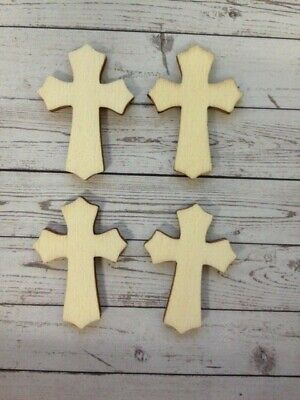 10 Natural Wooden Cross Religious Easter Card Making Craft Embellishments
