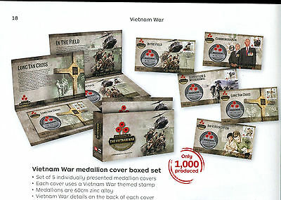2016 Vietnam War medallion cover boxed set 923/1000. Contains 5 medallion covers