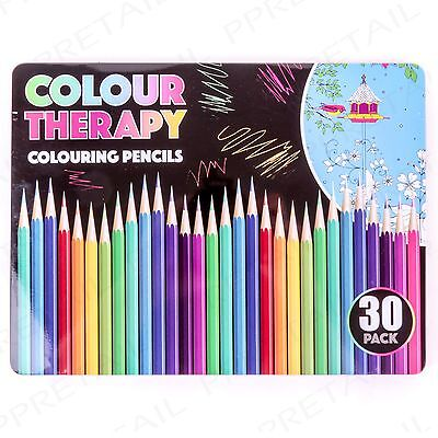LARGE PACK 30x Quality Colouring Book Pencils In Case Adult Colour Art Therapy