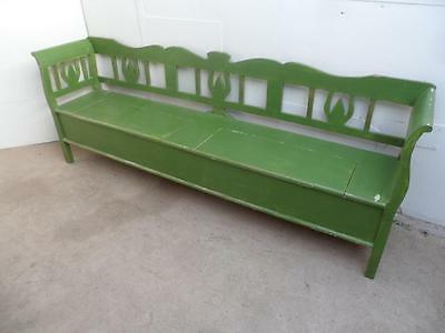 A Large 5-6 Seater Shabby Chic Painted Green Box Settle / Bench