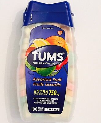 Tums Extra Strength 750mg Antacid Assorted Fruit Calcium Carbonate 100 Tablets