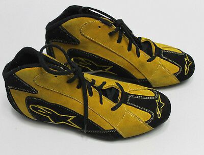 ALPINESTARS F1-T Racing SHOES Mens Low Top Yellow Black Leather Race Boots NEW