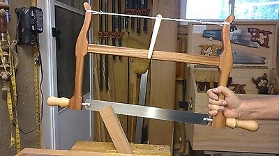 "NEW!Handcrafted 18"" Woodworkers Bow Saw.Figured Sapale/ Maple Handles and Toggle"