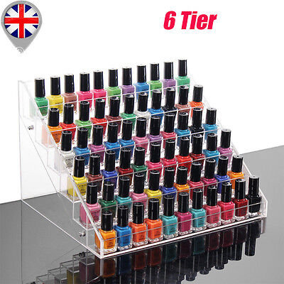 6 Tier Clear Acylic Nail Polish Varnish Display Stand Holder Cabinet Organizer
