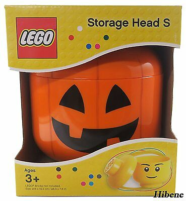 NEW LEGO BPA Free Brick Storage Head Small Bin Container Carrying Case  Pumpkin