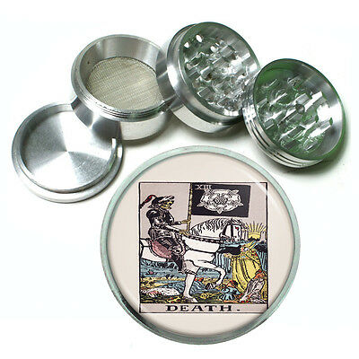 "Tarot Card D14 Aluminum Herb Grinder 2.5"" 63mm 4 Piece XIII Death"