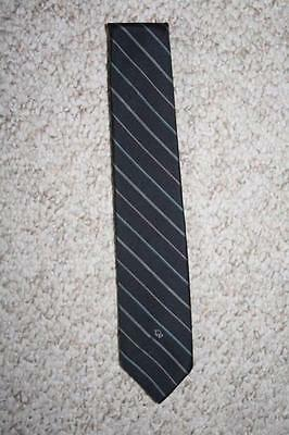 Christian Dior polyester silk black & gray mens men suit neck tie striped dress