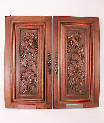 Gorgeous Pair French Antique Hand Carved Architectural Panel  Door Walnut Wood