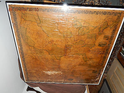 "Mitchell's 63"" x 65"" school map of United States, 1856. Framed/plexiglass."