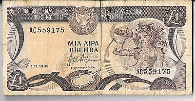CYPRUS BANKNOTE 1 P53a 1989 VG