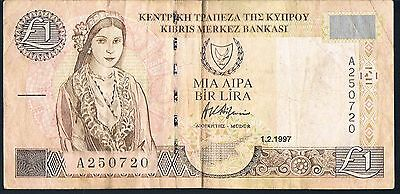 Cyprus Banknote 1 P57 1997 Vf Series A 250720