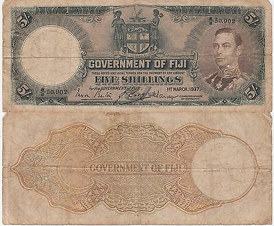 Fiji Islands,5 Shillings Banknote 1.3.1939 Choice Very Good Condition Cat#37-A-2