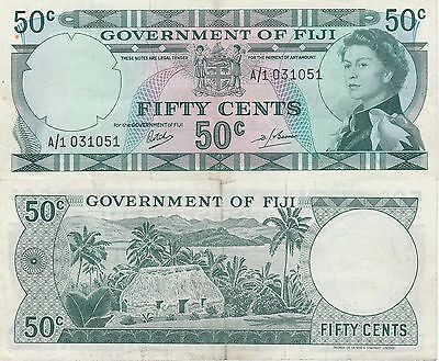 Fiji Islands,50 Cents Banknote (1969) EXtra Fine Condition Cat#58-A-1051