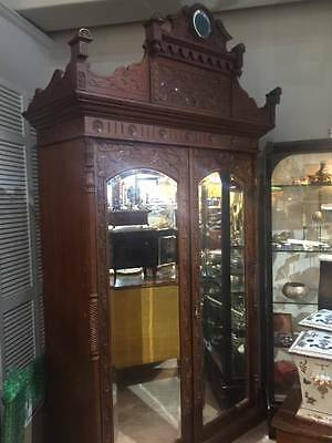 Surerb Quality Two Door Mirrored Carved Armoire , Ideal Entertainment Center