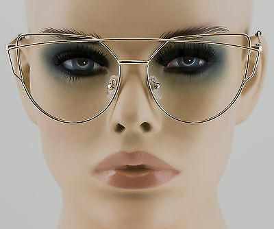 Modern Women CAT EYE Twin-Beams Clear Lens GLASSES Transparent Gold Metal Frame