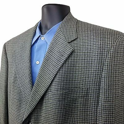 BURBERRY Houndstooth Wool Blazer Sport Coat Jacket GRAY Men's Size 44R 3 Button