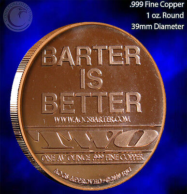 """Barter is Better"" 1 oz .999 Copper Round Very Limited and Rare"