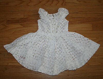 Vintage 40s 50s Toddler Girls Garden Wedding White Lace Dress Flower Cutwork