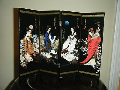 Chinese Four Panel Black Lacquer Screen With Hinges And Beautiful  Ladies