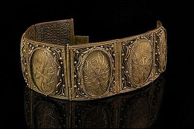 Antique Chinese Flower Gilt Metal Filigree Hinged Bracelet D57-09