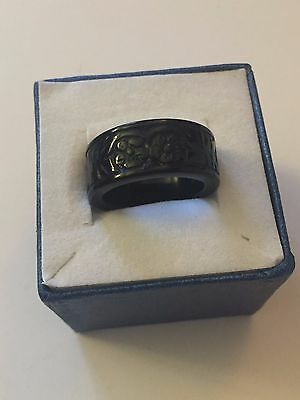Genuine Carved Black Jade Band Ring