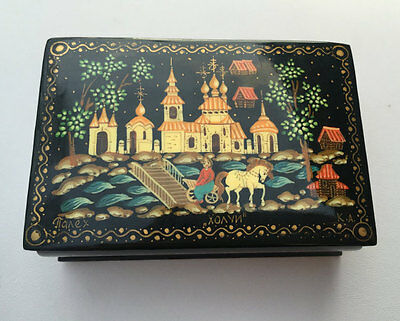 "Vintage Black ""Holuy"" ХОЛУЙ Hand Painted Russian art signed Palekh Laquer Box"
