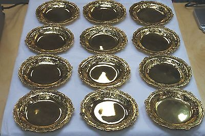 Antique Sterling Silver Vermeil 12 Roll Bread Plates