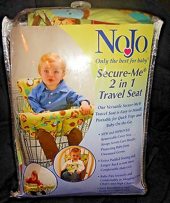 New NoJo Secure Me 2 in 1 Travel Seat Shopping Cart Cover High Chair Safari