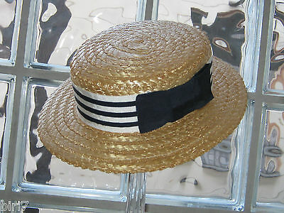 Laura Ashley Vintage Childs Straw Boater Hat With Navy/white Striped Ribbon&bow