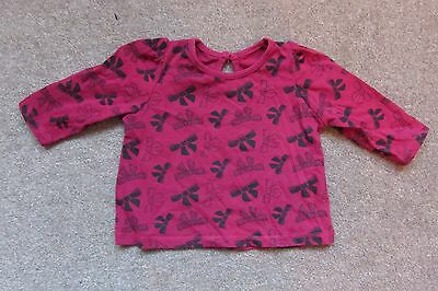 Baby Girls Pink & Blue Bows Long Sleeved Top age 3-6 months
