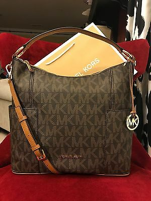 8b38622fe5a5 Nwt Michael Kors Signature Pvc Anita Large Convertible Shoulder Bag In Brown