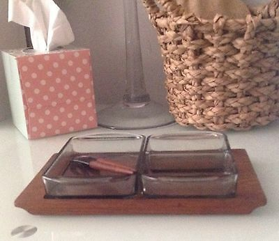 Mid Century Modernist Danish Teak and Glass Pickle Serving Tray