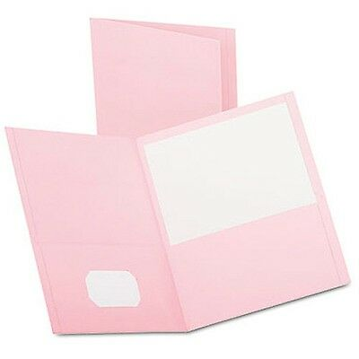 Oxford Twin Pocket Portfolio Embossed Leather Grain Paper Pink